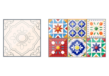Talavera Pattern Tile Vectors - бесплатный vector #353651