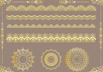 Set of Lace Trim Vectors - vector gratuit #353691