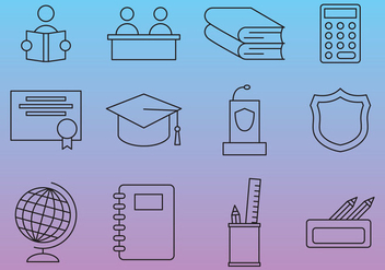 School Line Vector Icons - бесплатный vector #353701