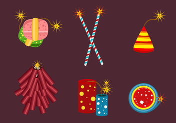 Set of Fire Crackers Vector - vector gratuit #353771