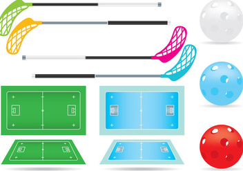 Vector Floorball Court And Items - vector gratuit #354271