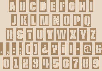 Stenciled Laser Cut Type Font Vector - Free vector #354321