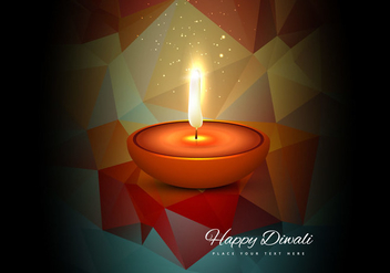Glowing Diya For Diwali Festival - бесплатный vector #354361