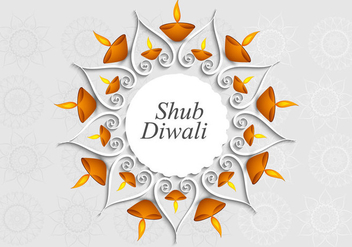 Shubh Diwali With Rangoli And Oil Lamp - Free vector #354381