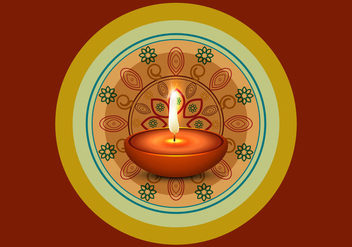 Lit Oil Lamp On Rangoli - Free vector #354421
