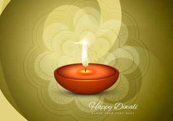 Happy Diwali Card With Glowing Diya - vector gratuit #354451