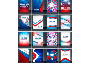 Set Of 4th July Independence Day Card - бесплатный vector #354461