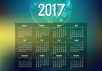 Year 2017 Calendar With Bubble - vector gratuit #354481