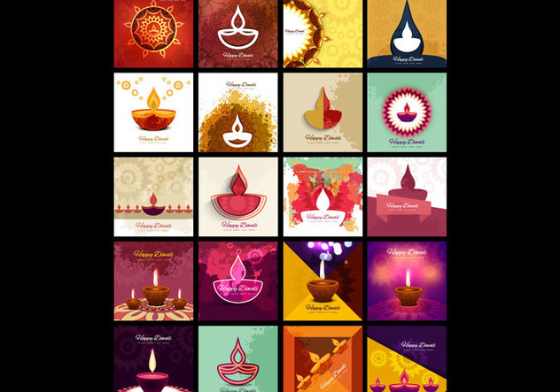 Collection Of Diwali Lamp - Kostenloses vector #354521