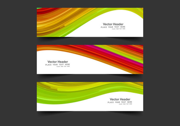 Headers With Colorful Waves - Free vector #354541