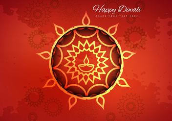 Hindu Diwali Festival Card With Flora Background - vector gratuit #354581