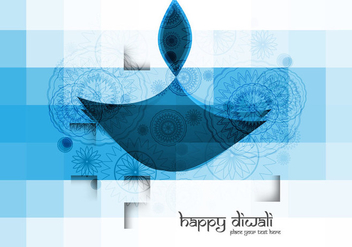 Blue Colored Diwali Oil Lamp - vector gratuit #354591