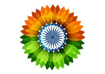 Floral Indian Flag With Asoka Wheel - vector gratuit #354661