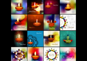 Collection Of Colorful Diwali Card - vector gratuit #354701