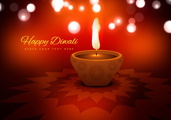 Diwali Festival With Beautiful Oil Lamp - vector gratuit #354721