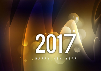 Glowing Happy New Year 2017 Greeting Card - Free vector #354761
