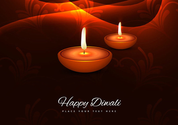 Lit Decorated Diya On Bright Background - vector gratuit #354811
