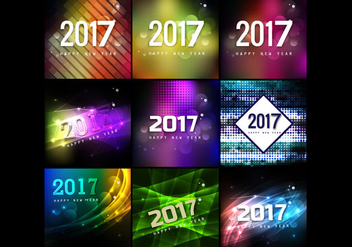 Collection Of Happy New Year Cards - vector gratuit #354831