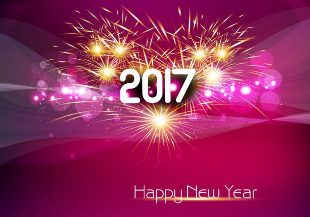 Glowing 2017 New Year Card - vector gratuit #354881