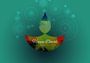 Decorative Oil Lamp In Front Of Rangoli - vector gratuit #354931
