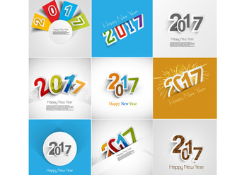 Set Of Happy New Year Card - vector gratuit #355021