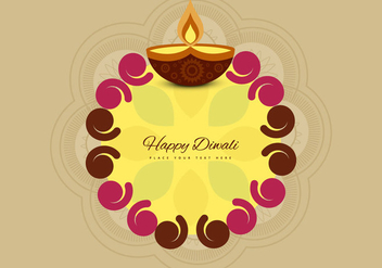 Diwali Rangoli With Oil Lit Lamp - Free vector #355031