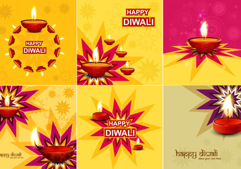 Collection Of Diwali Card - Kostenloses vector #355071