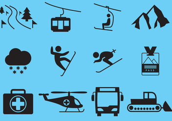 Winter Ski Vacation Icon Vectors - Free vector #355191