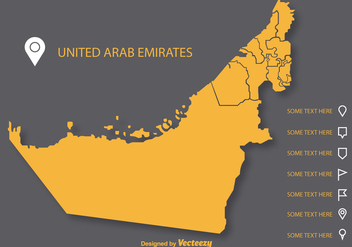 Vector Uae Flat Map on Gray Background - Free vector #355341