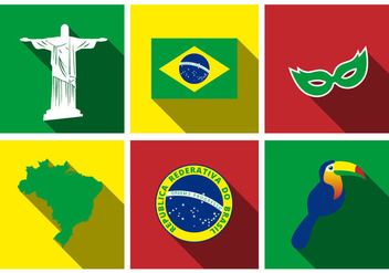Free Brazil Flat Icon Set Vector - Free vector #355401
