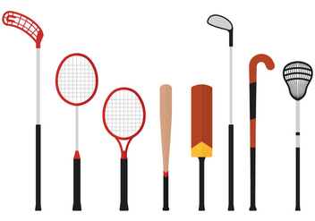 Floorball Stick And Other Sport Vectors - Free vector #355431