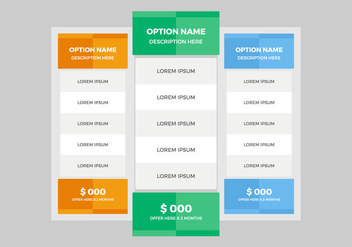 Free Pricing Table Vector - Kostenloses vector #355761