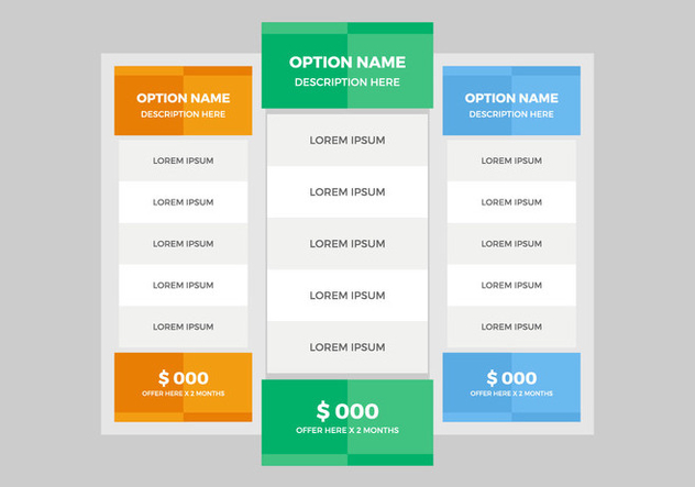Free Pricing Table Vector - Free vector #355761