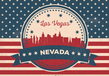Retro Las Vegas Skyline Illustration - vector gratuit #355901