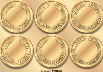 Gold Medals Vector Set - Free vector #356121