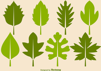 Green Leaves Vector Icon Set - Free vector #356141