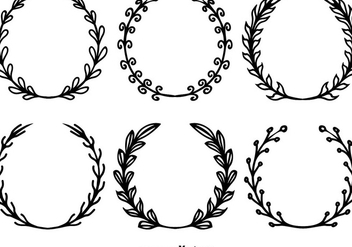 Hand Drawn Wreath Vectors - vector gratuit #356181