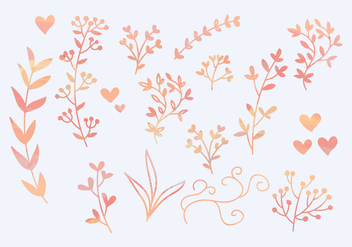 Vector Watercolor Branches - vector gratuit #356231