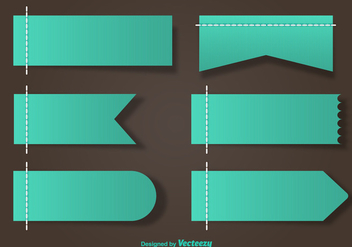 Stitched Green Vector Labels - Kostenloses vector #356271