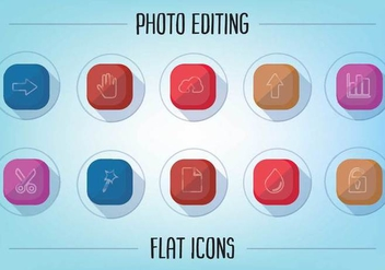 Free Flat Photo Editing Icons Vector - vector gratuit #356821