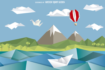 Mountain polygonal origami landscape - Free vector #356921
