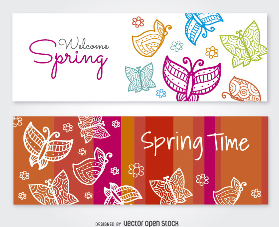 2 color butterfly banners with message - vector #356931 gratis