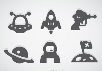 Fantasy Space Gray Icons - Free vector #356981