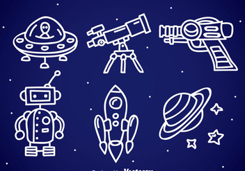 Space Fantasy Doodle Icons - Free vector #357111