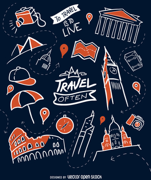 Travel wallpaper in flat style - vector gratuit #357171