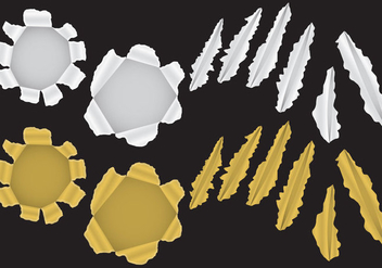 Golden And Silver Metal Tear Vectors - vector gratuit #357201
