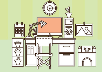 Free Home Office Vector Set Up - Free vector #357321