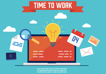 Free Time to Work Vector Illustration - vector gratuit #357331
