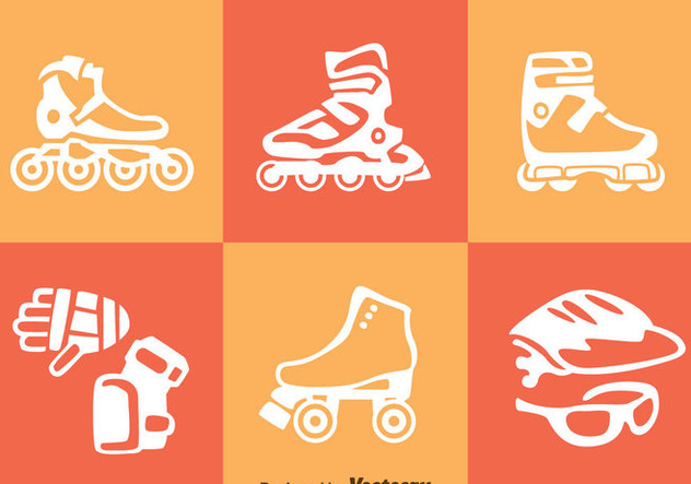 Roller Blade Icons Vector - Free vector #357341