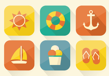 Free Collection of Summer Icons in Flat Design - бесплатный vector #357351